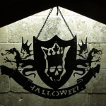 Metal cutout Halloween crest in the kitchen