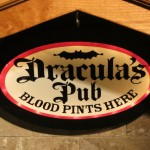 Dracula Pub sign in the kitchen