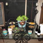 food table with live lettuce planter