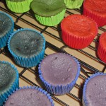 Blue, Green, Red & Purple Velvet Cupcakes