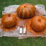Painting the papier-mache pumpkins