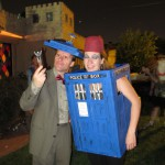 Doctor Who & the Tardis with a ghost behind them