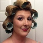 Trying to do 40s hair required purchasing curlers that happened to be teal. Flashbacks to my summer as one of the Beauty School Dropout backup dancers in Grease. ;)