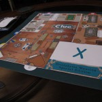 Closeup of the custom Clue game board