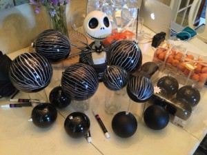 Pinstriping black ornaments like Jack's suit