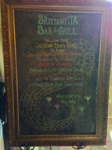 Oz Menu Chalkboard