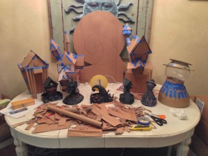 Cardboard mockup of Halloweentown ready for gingerbread baking