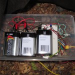Batteries and controller magic inside Jack's shoebox