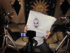 Filming Glen's first vampire pumpkin face