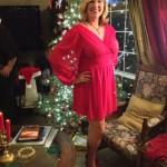 Lights shining through my new red dress!