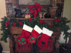 Kitty Paw Stockings on the Mantel