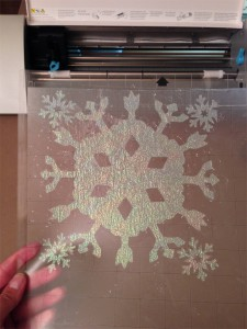 Successful custom snowflake design iron-on appliqué cut by the Silhouette machine!