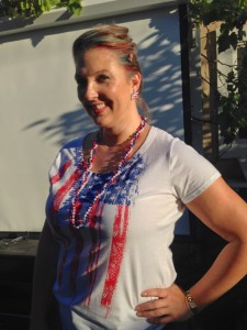 My festive 4th outfit, including red & blue stripes in my hair!