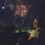 Britta watching the fireworks!