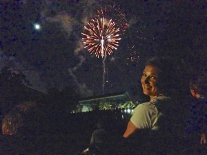 Britta watching the fireworks!