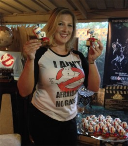 Birthday Girl with Stay Puft S'mores and Ghostbusters Decor