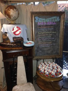 Tee, plates, s'mores & menu chalkboard