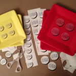 Custom LEGO paper plates using food ink printer on transparent labels