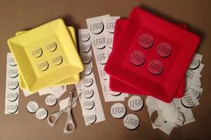 Custom LEGO paper plates using food ink printer on transparent labels