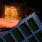 Making colored ice bricks in the silicone mold