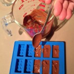Making milk chocolate bricks in the silicone mold
