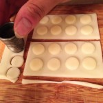 Cutting cheese pips for the LEGO mozzarella slices