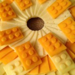 Closeup of Construction Cheese & Crackers