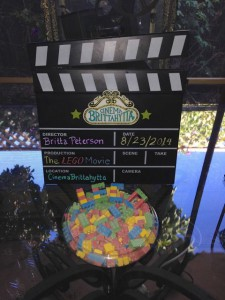 Clapboard with Candy Bricks Spelling LEGO
