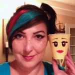 Closeup of Wyldstyle makeup matching the minifig cup