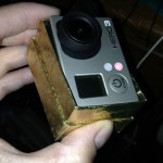 Gold cardboard jewelry box fits the GoPro perfectly!