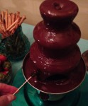 Mini Oreos in the swan song performance of the Chocolate Fondue Fountain
