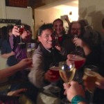 Happy New Year toast with prosecco, sparkling hard cider, and sparkling lingonberry juice!