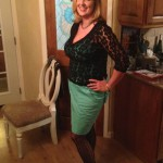 Trying to document my New Year's Eve outfit. Note I matched the tablecloth!