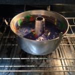 Swirled cake batter ready to bake!