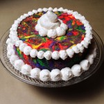 Tie-Dye Angel Food Cake with Whipped Cream Frosting