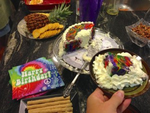 The tie dye cake was a hit!