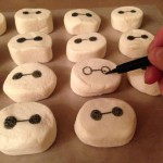 Drawing Baymax's face on marshmallows with my black food pen