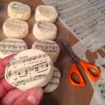 Cutting wafer paper sheet music to fit marshmallows for The S'mores of Music
