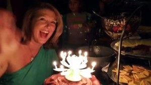 Birthday girl with the crazy lotus candle