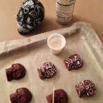 Painting the chocolate skulls with Choco-White