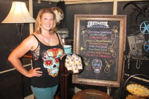 Your festive hostess modeling the skull platter of Dia de los S'Muertos