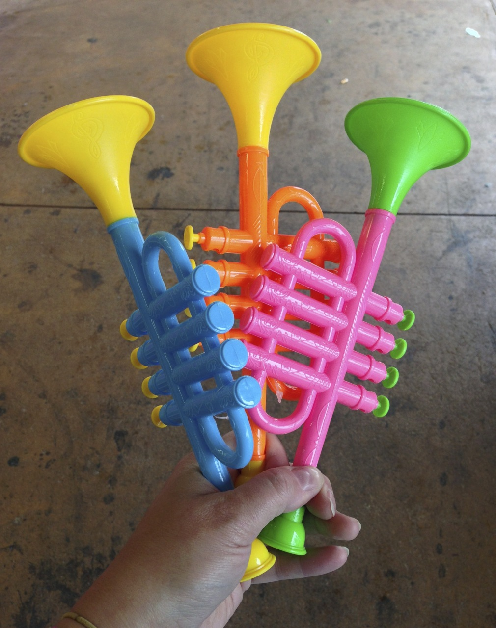 toy trumpets from the dollar store!