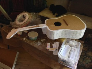 Papier-mâché guitar in process
