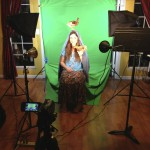 portable greenscreen and lighting setup in Davis with live chickens!