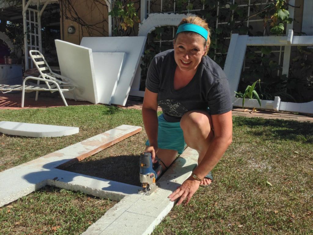 Webmistress Britta hard at work with the jigsaw, getting foam fuzz everywhere!