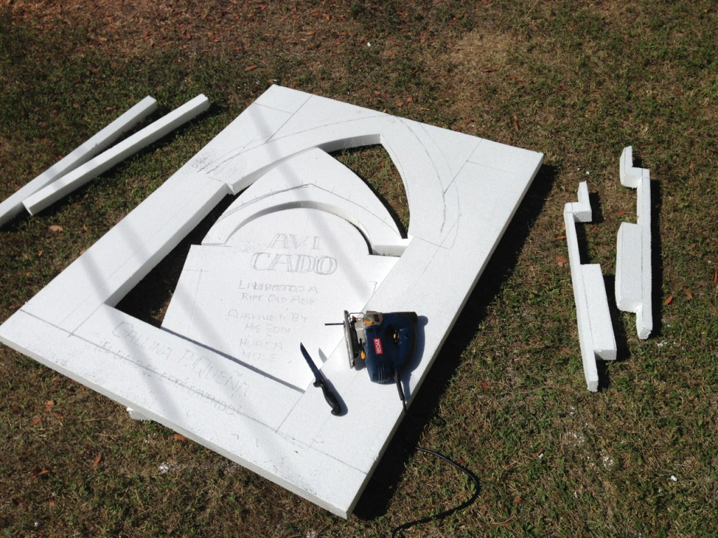 An extra-long jigsaw blade makes foam cutting a breeze, but leaves fuzz all over!