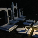 Gluing gravestones overnight