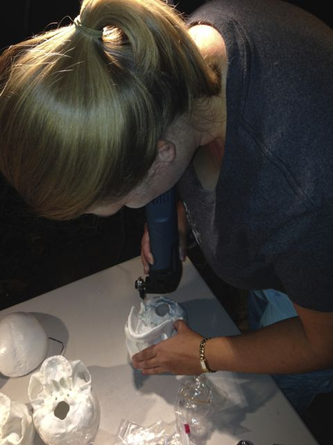 Carefully cutting the thick plastic skulls accurately was tricky