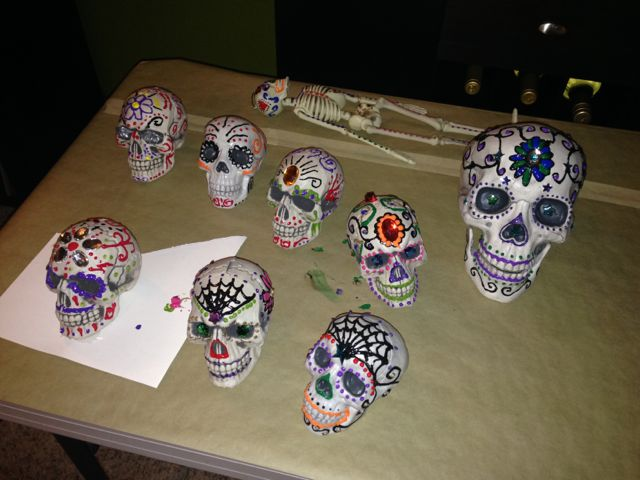 Painting skulls with Scary Jerry