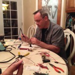 Ghoulish Glen at the soldering party assembly line